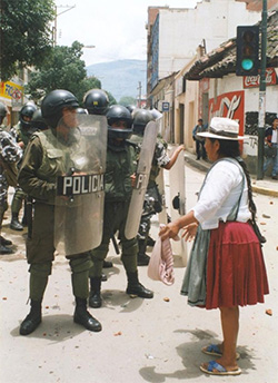 Scene from Bolivia's water privatization struggle -- Bechtel Corporation vs. Cochabamba citizen
